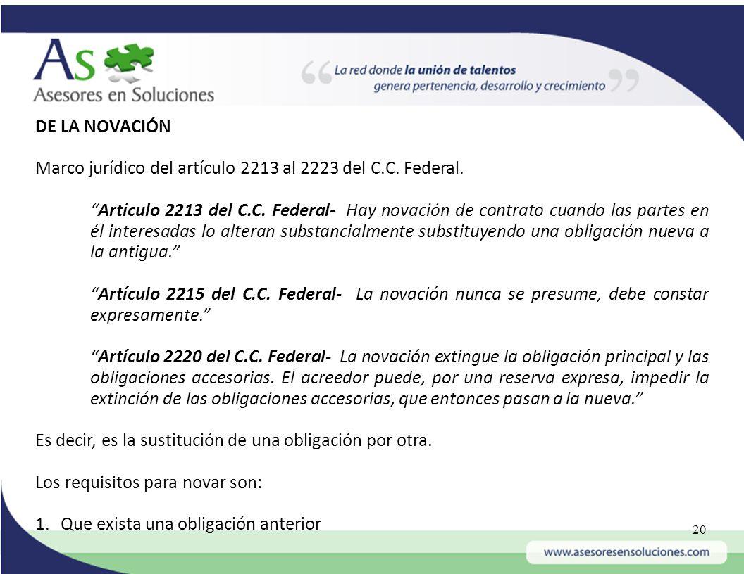 DE LA NOVACIÓN Marco jurídico del artículo 2213 al 2223 del C.C. Federal.
