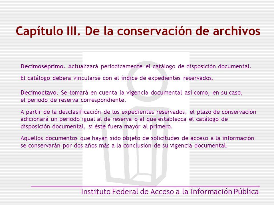 Capítulo III. De la conservación de archivos