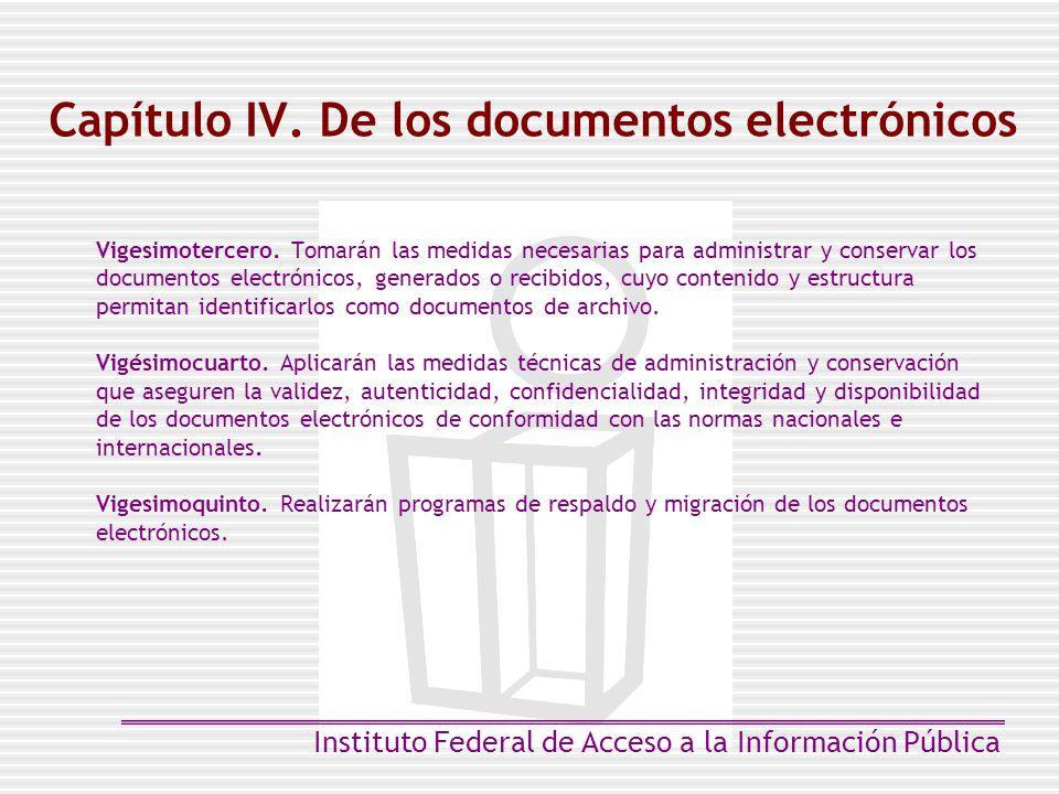 Capítulo IV. De los documentos electrónicos