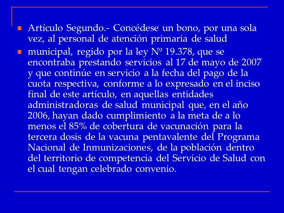 Artículo Segundo.- Concédese un bono, por una sola vez, al personal de atención primaria de salud