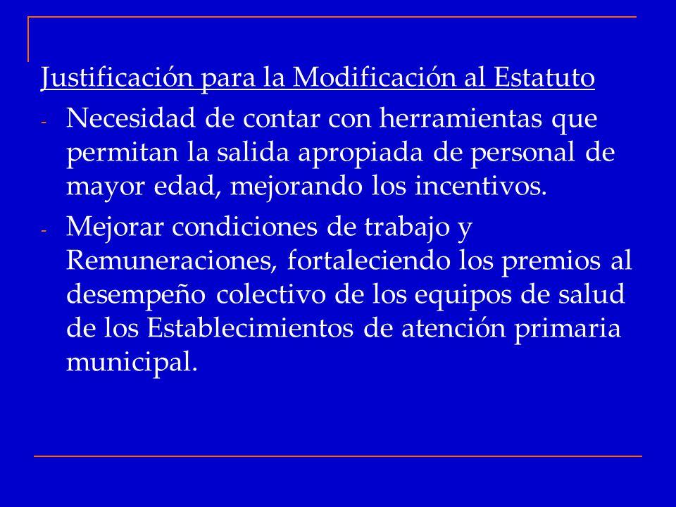 Justificación para la Modificación al Estatuto