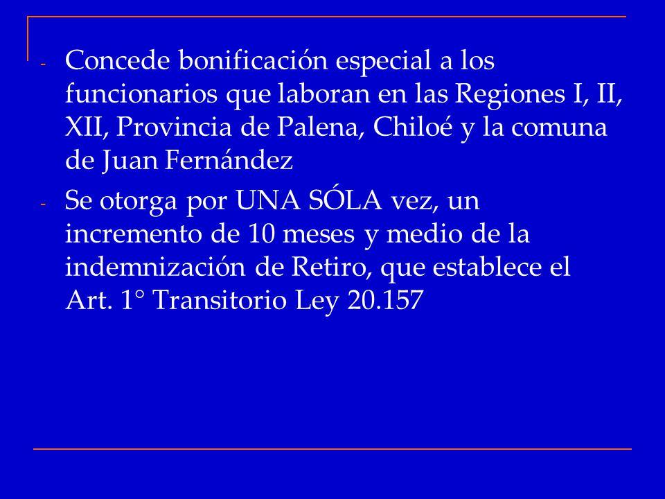 Concede bonificación especial a los funcionarios que laboran en las Regiones I, II, XII, Provincia de Palena, Chiloé y la comuna de Juan Fernández