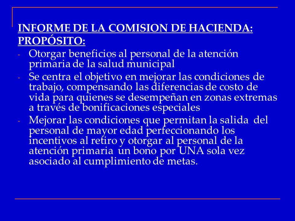 INFORME DE LA COMISION DE HACIENDA: