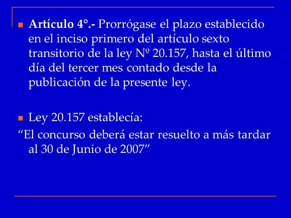 Artículo 4°.- Prorrógase el plazo establecido en el inciso primero del artículo sexto transitorio de la ley Nº 20.157, hasta el último día del tercer mes contado desde la publicación de la presente ley.