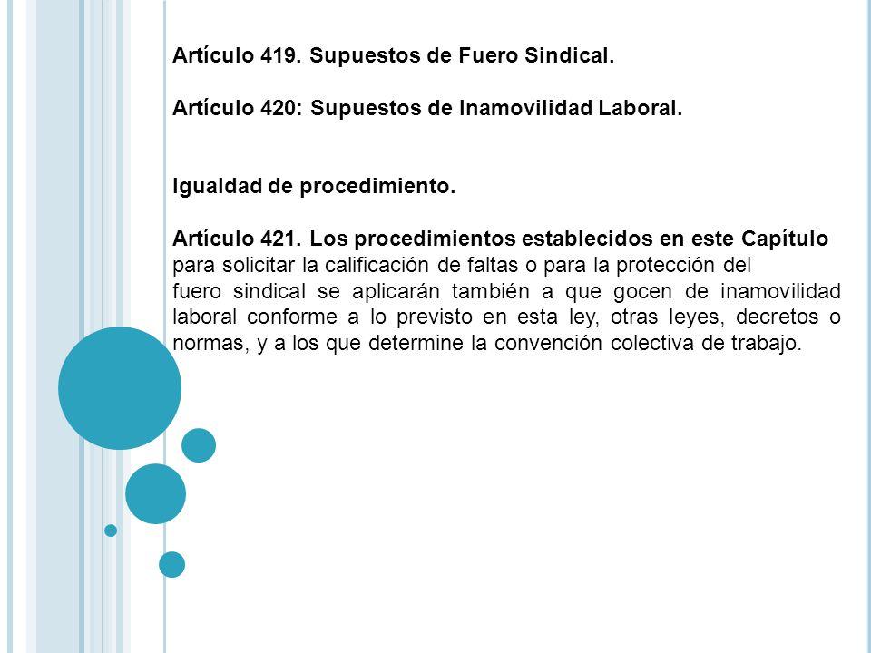 Artículo 419. Supuestos de Fuero Sindical.