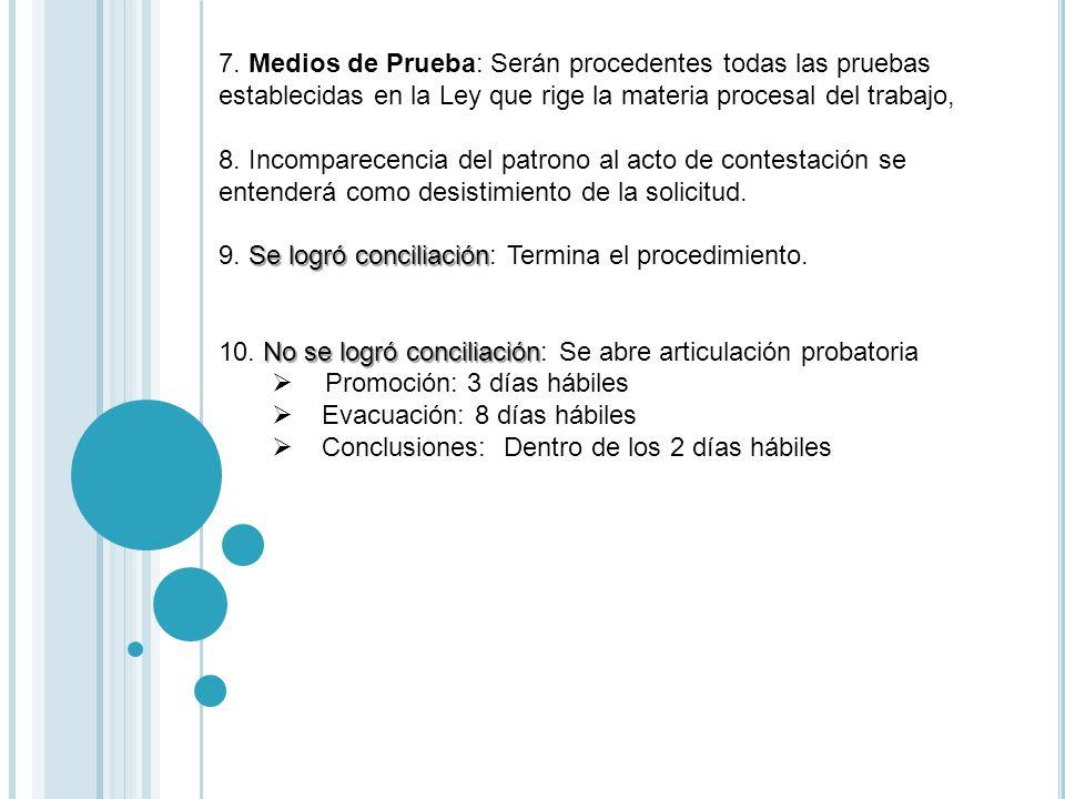 7. Medios de Prueba: Serán procedentes todas las pruebas establecidas en la Ley que rige la materia procesal del trabajo,