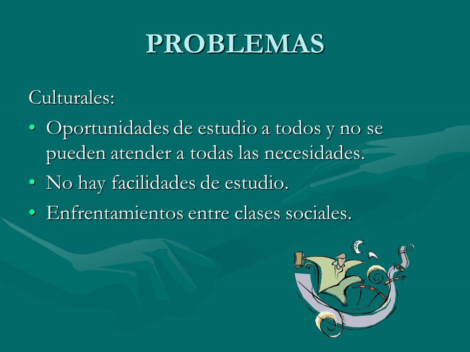 PROBLEMAS Culturales: