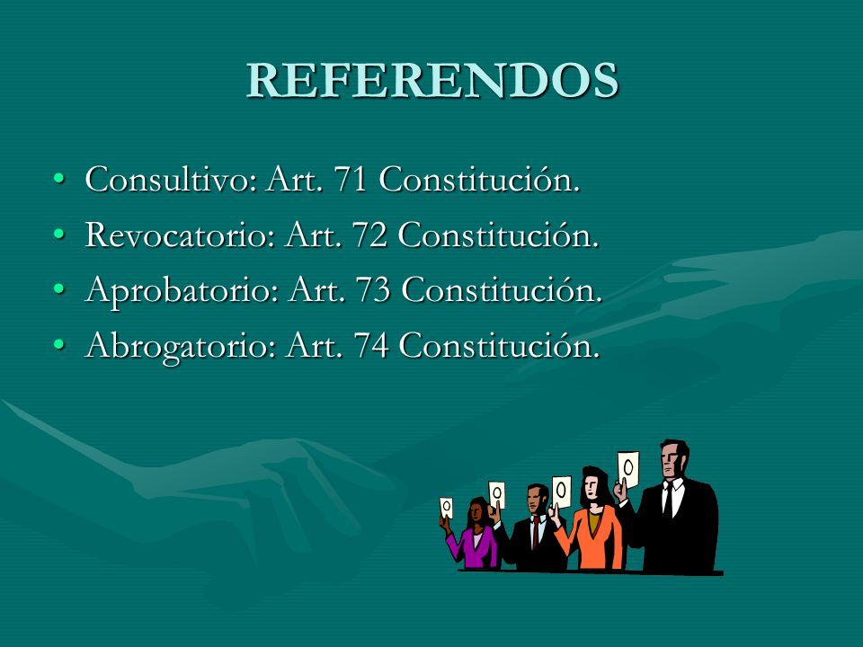 REFERENDOS Consultivo: Art. 71 Constitución.
