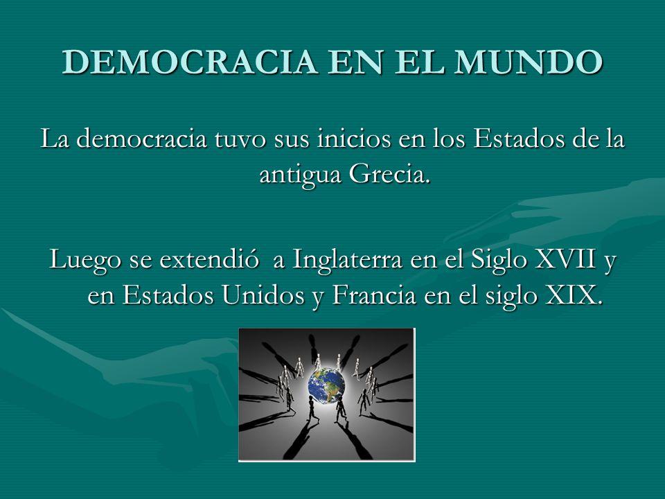 La democracia tuvo sus inicios en los Estados de la antigua Grecia.