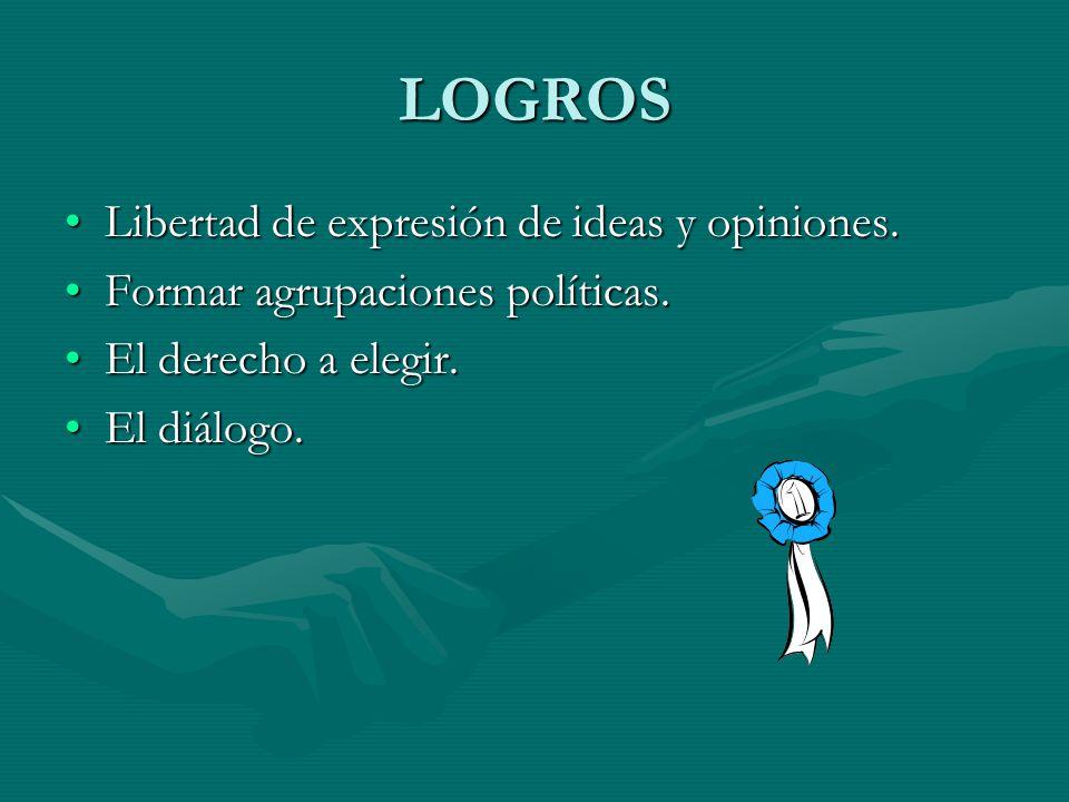 LOGROS Libertad de expresión de ideas y opiniones.