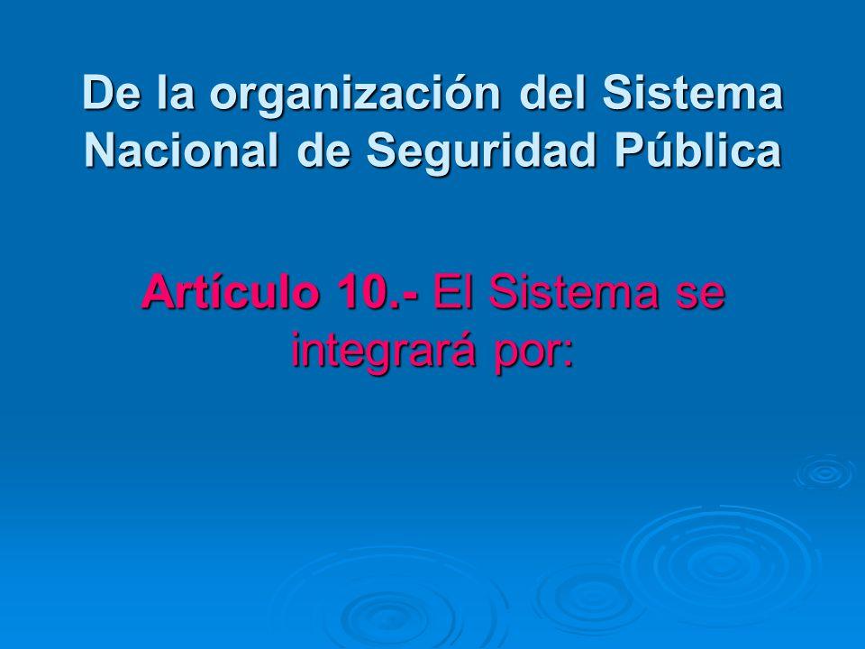 De la organización del Sistema Nacional de Seguridad Pública