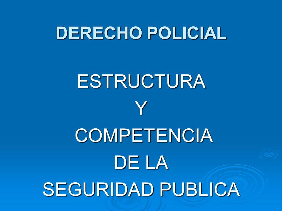 ESTRUCTURA Y COMPETENCIA DE LA SEGURIDAD PUBLICA