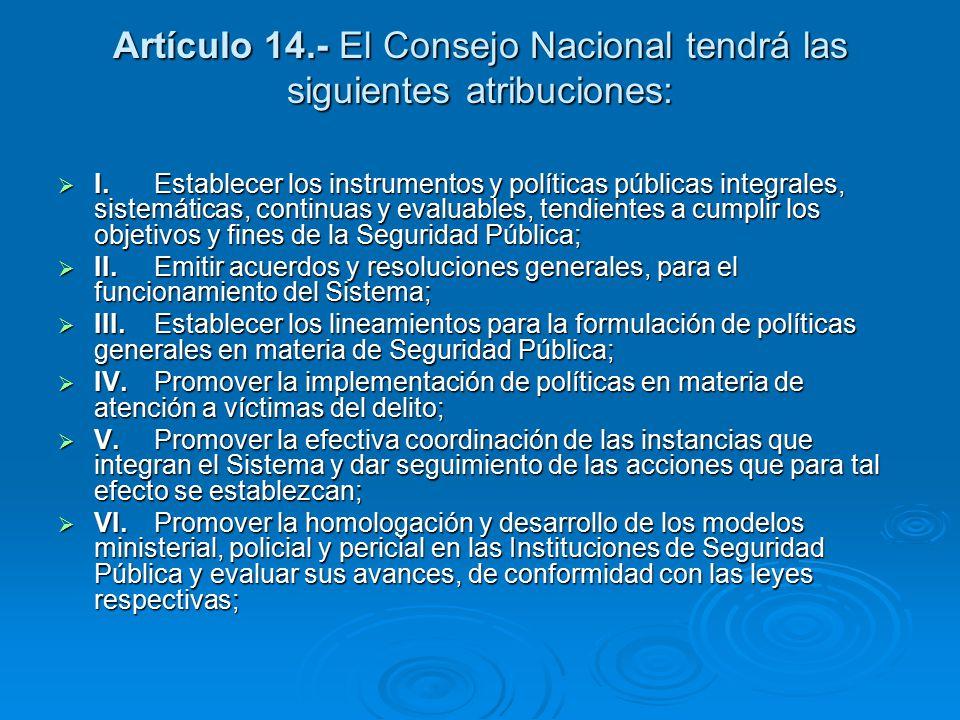 Artículo 14.- El Consejo Nacional tendrá las siguientes atribuciones: