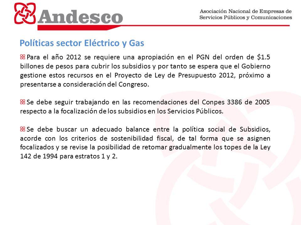 Políticas sector Eléctrico y Gas