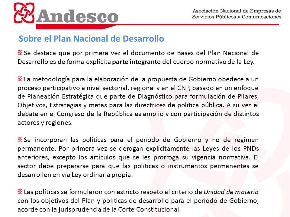 Sobre el Plan Nacional de Desarrollo