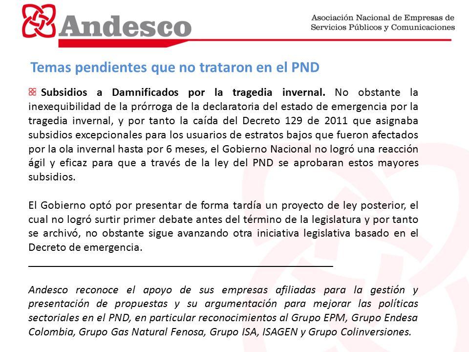 Temas pendientes que no trataron en el PND