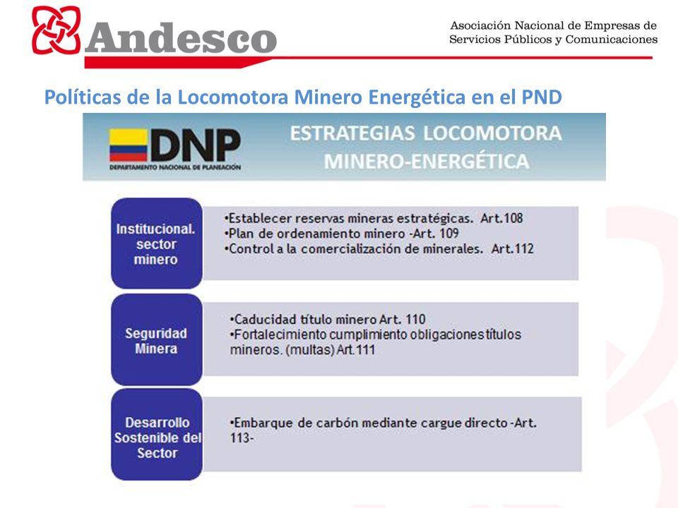 Políticas de la Locomotora Minero Energética en el PND