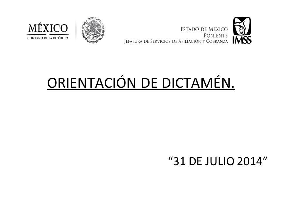 ORIENTACIÓN DE DICTAMÉN. 31 DE JULIO 2014