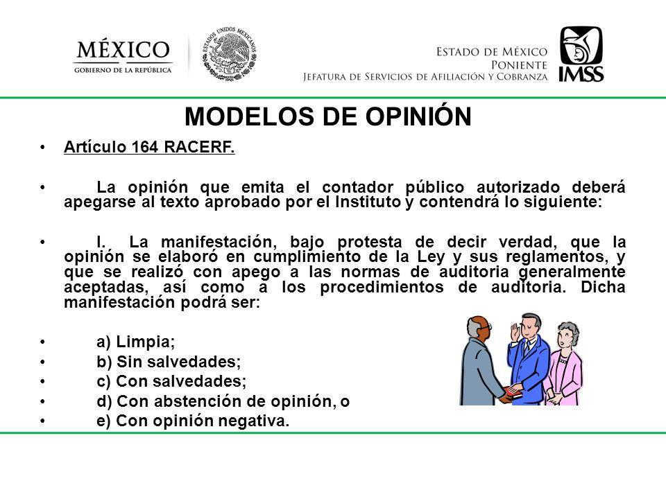 MODELOS DE OPINIÓN Artículo 164 RACERF.