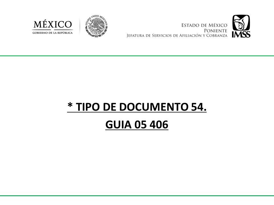 * TIPO DE DOCUMENTO 54. GUIA 05 406