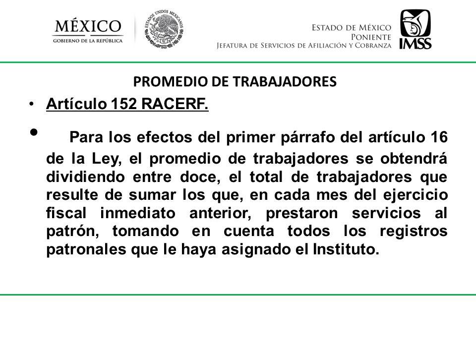PROMEDIO DE TRABAJADORES