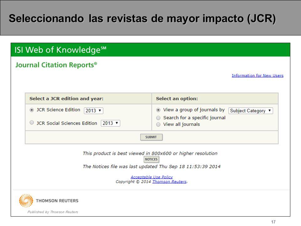 Seleccionando las revistas de mayor impacto (JCR)