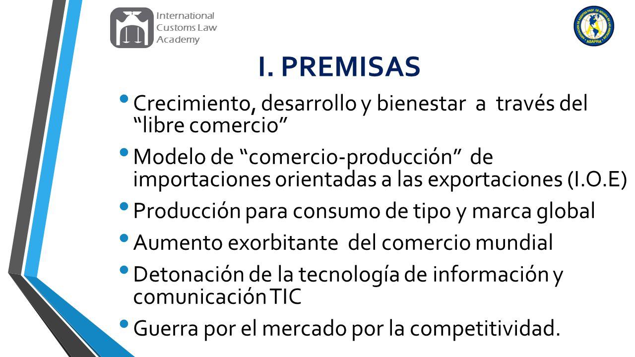 International Customs Law. Academy. I. PREMISAS. Crecimiento, desarrollo y bienestar a través del libre comercio