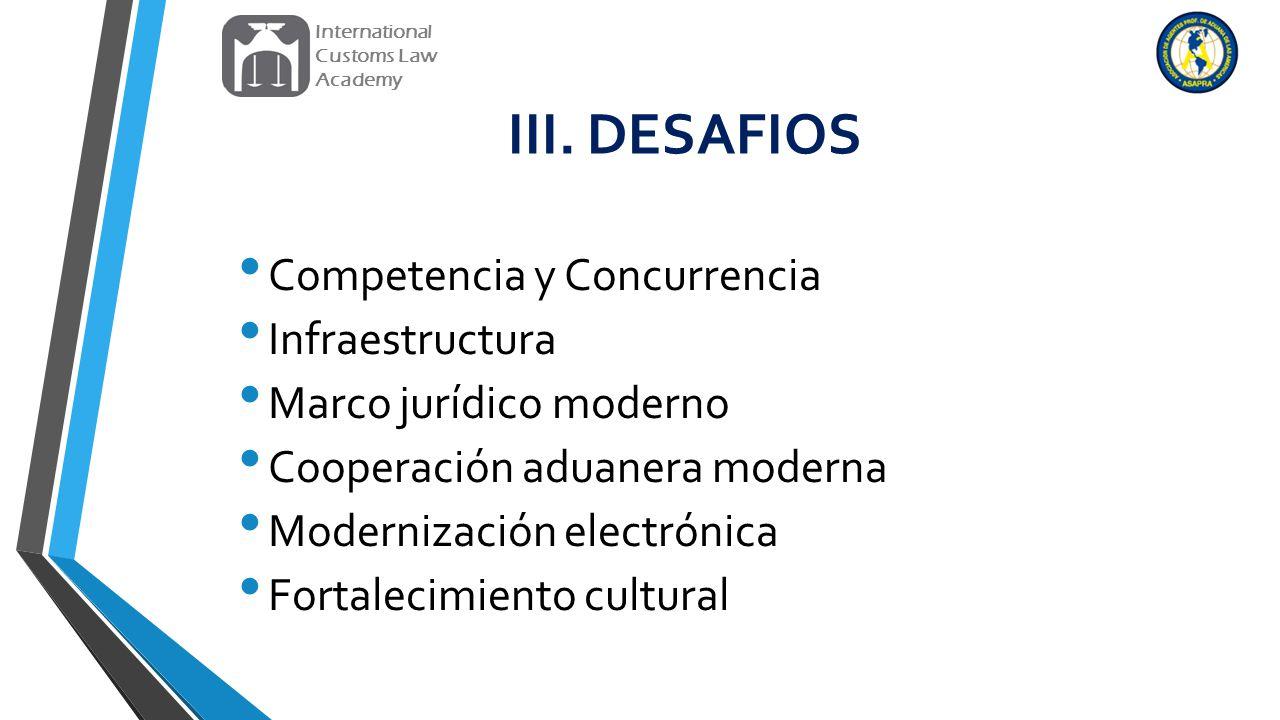 III. DESAFIOS Competencia y Concurrencia Infraestructura