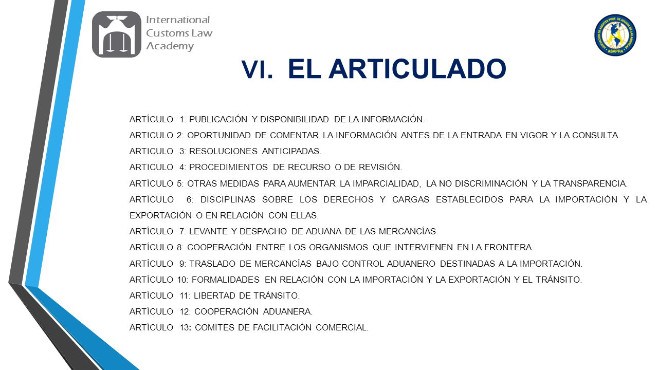 VI. EL ARTICULADO International Customs Law Academy