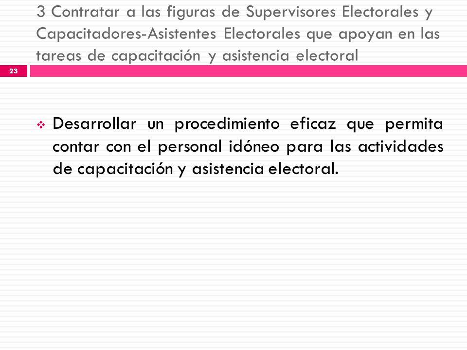 3 Contratar a las figuras de Supervisores Electorales y Capacitadores-Asistentes Electorales que apoyan en las tareas de capacitación y asistencia electoral