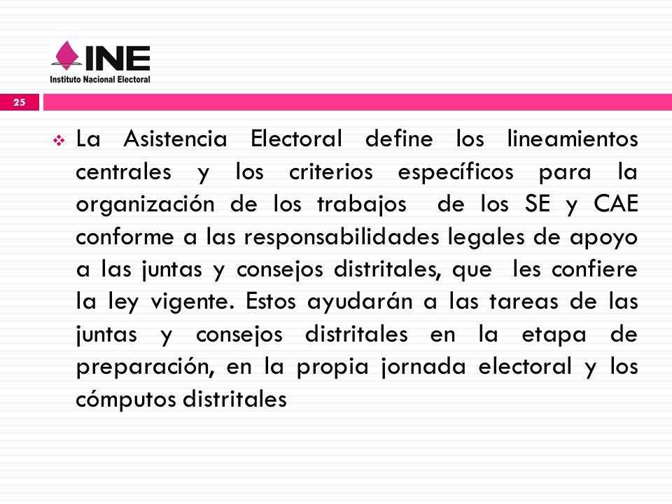 La Asistencia Electoral define los lineamientos centrales y los criterios específicos para la organización de los trabajos de los SE y CAE conforme a las responsabilidades legales de apoyo a las juntas y consejos distritales, que les confiere la ley vigente.