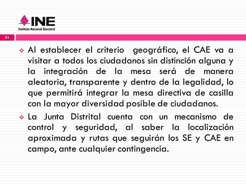 Al establecer el criterio geográfico, el CAE va a visitar a todos los ciudadanos sin distinción alguna y la integración de la mesa será de manera aleatoria, transparente y dentro de la legalidad, lo que permitirá integrar la mesa directiva de casilla con la mayor diversidad posible de ciudadanos.