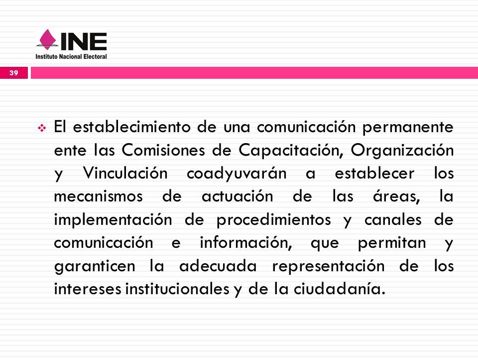 El establecimiento de una comunicación permanente ente las Comisiones de Capacitación, Organización y Vinculación coadyuvarán a establecer los mecanismos de actuación de las áreas, la implementación de procedimientos y canales de comunicación e información, que permitan y garanticen la adecuada representación de los intereses institucionales y de la ciudadanía.