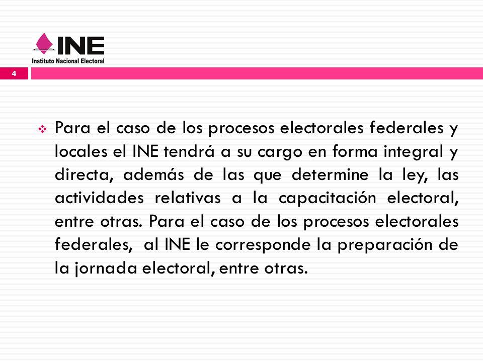 Para el caso de los procesos electorales federales y locales el INE tendrá a su cargo en forma integral y directa, además de las que determine la ley, las actividades relativas a la capacitación electoral, entre otras.
