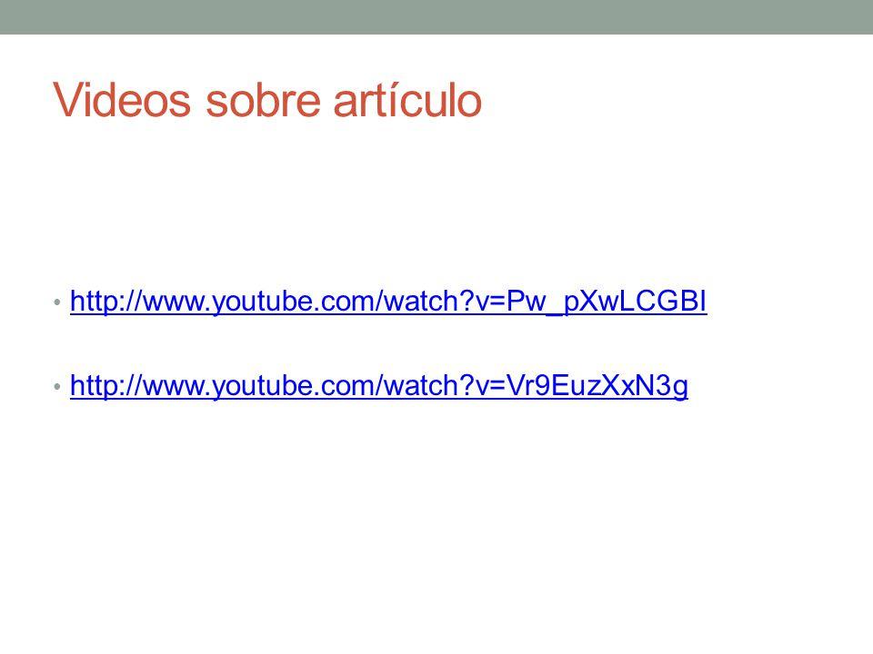 Videos sobre artículo http://www.youtube.com/watch v=Pw_pXwLCGBI