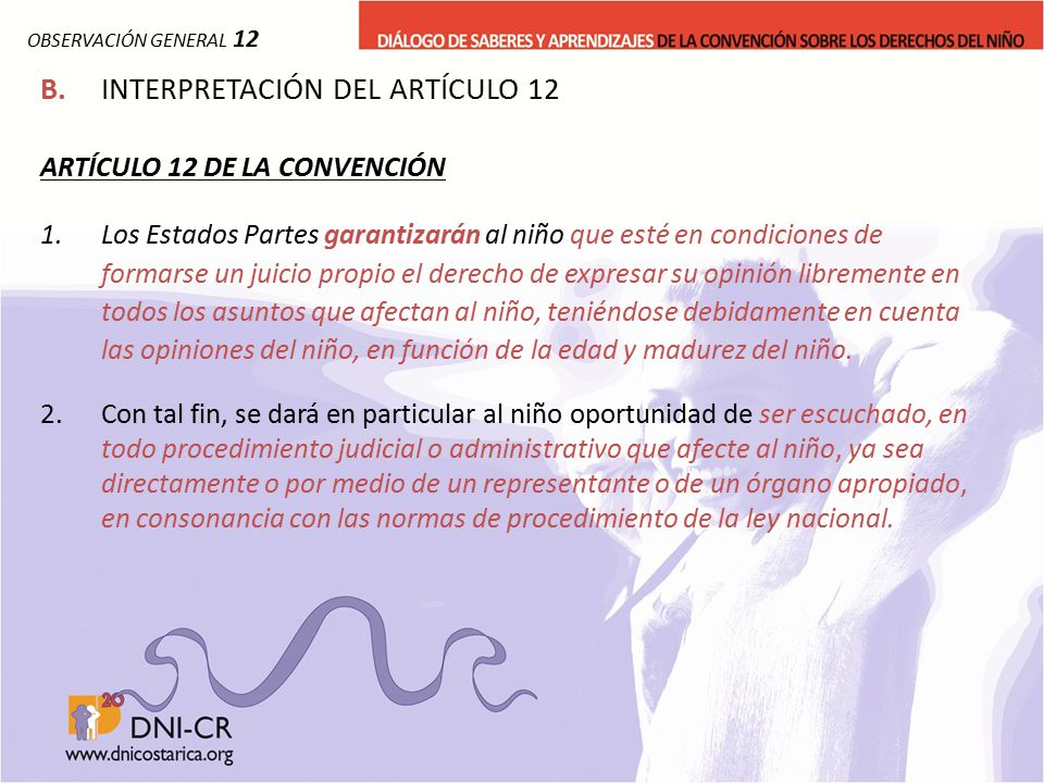 B. INTERPRETACIÓN DEL ARTÍCULO 12