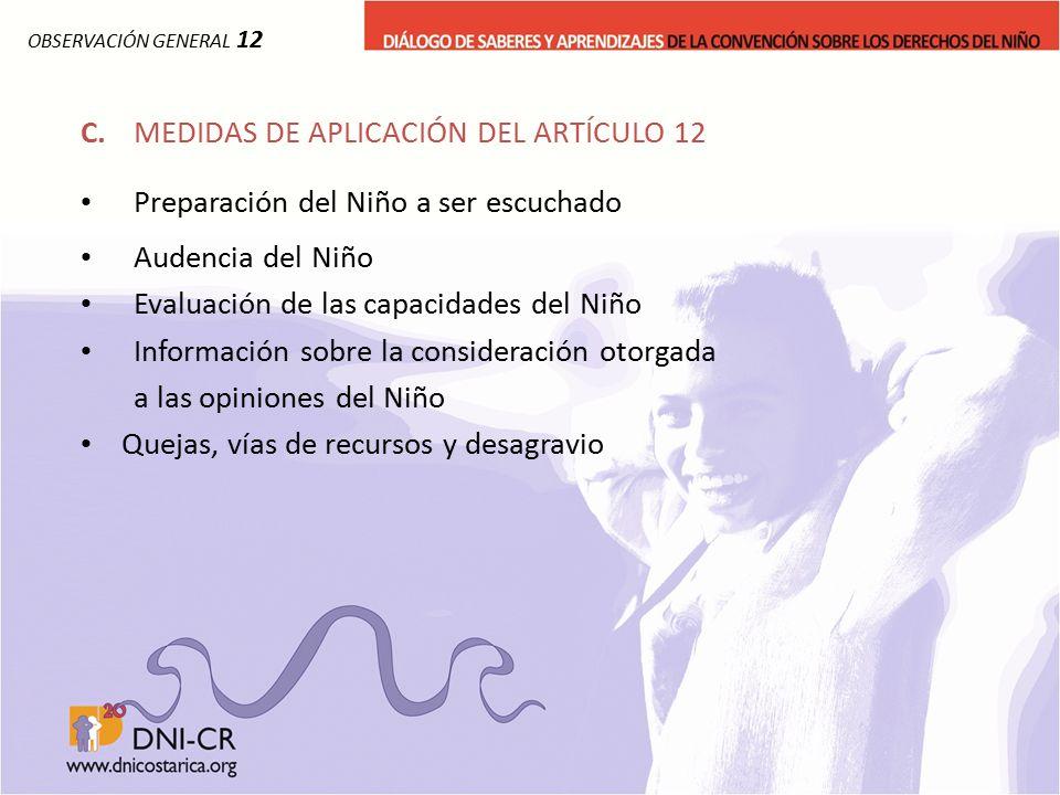 C. MEDIDAS DE APLICACIÓN DEL ARTÍCULO 12