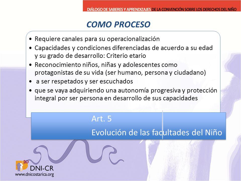 COMO PROCESO Evolución de las facultades del Niño Art. 5