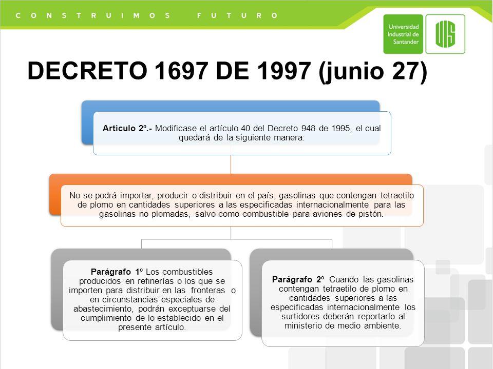 DECRETO 1697 DE 1997 (junio 27) Artículo 2º.- Modificase el artículo 40 del Decreto 948 de 1995, el cual quedará de la siguiente manera: