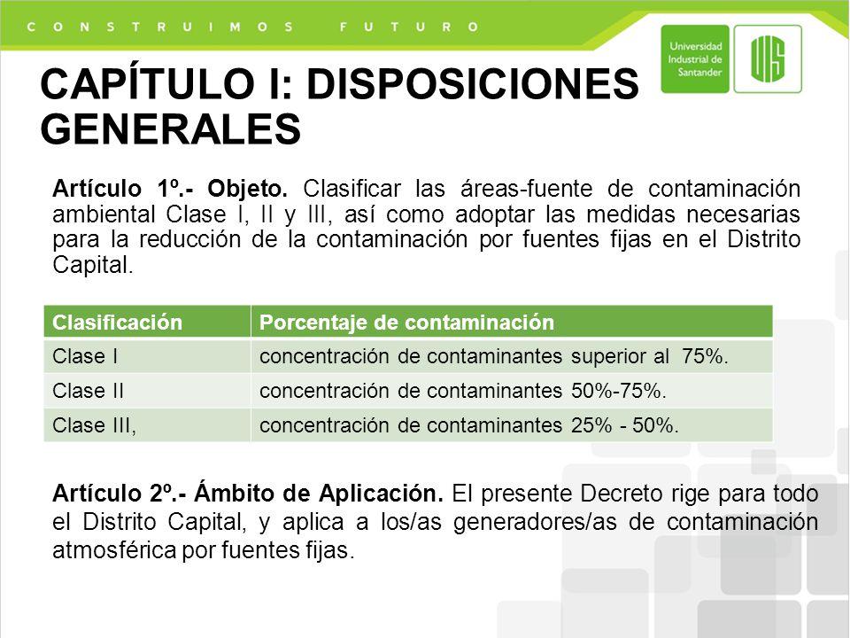 CAPÍTULO I: DISPOSICIONES GENERALES