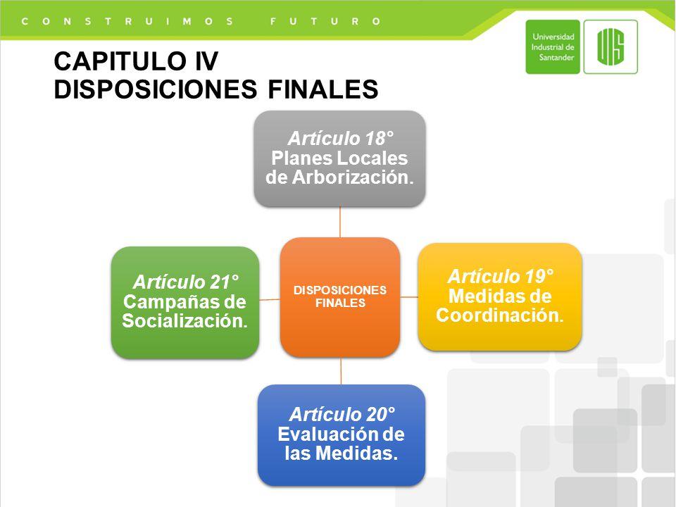 CAPITULO IV DISPOSICIONES FINALES