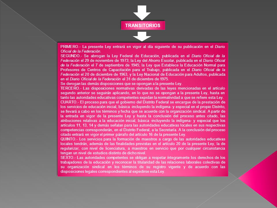 TRANSITORIOS PRIMERO.- La presente Ley entrará en vigor al día siguiente de su publicación en el Diario Oficial de la Federación.