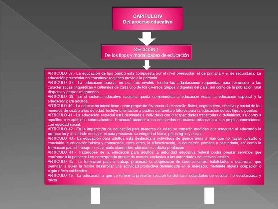 CAPÍTULO IV Del proceso educativo