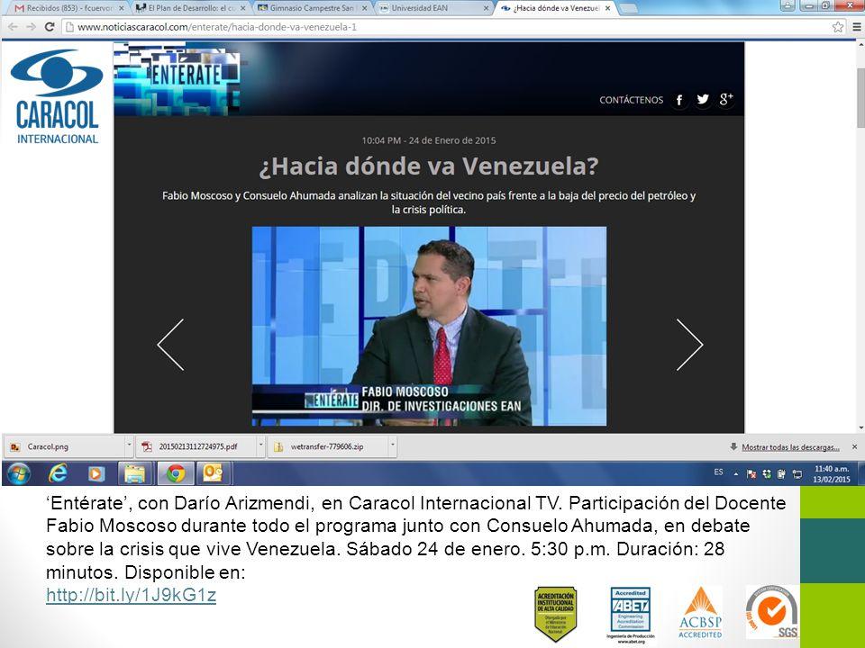 'Entérate', con Darío Arizmendi, en Caracol Internacional TV