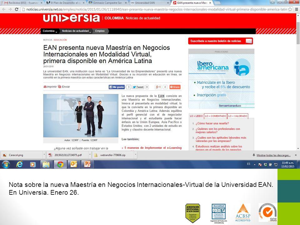 Nota sobre la nueva Maestría en Negocios Internacionales-Virtual de la Universidad EAN.