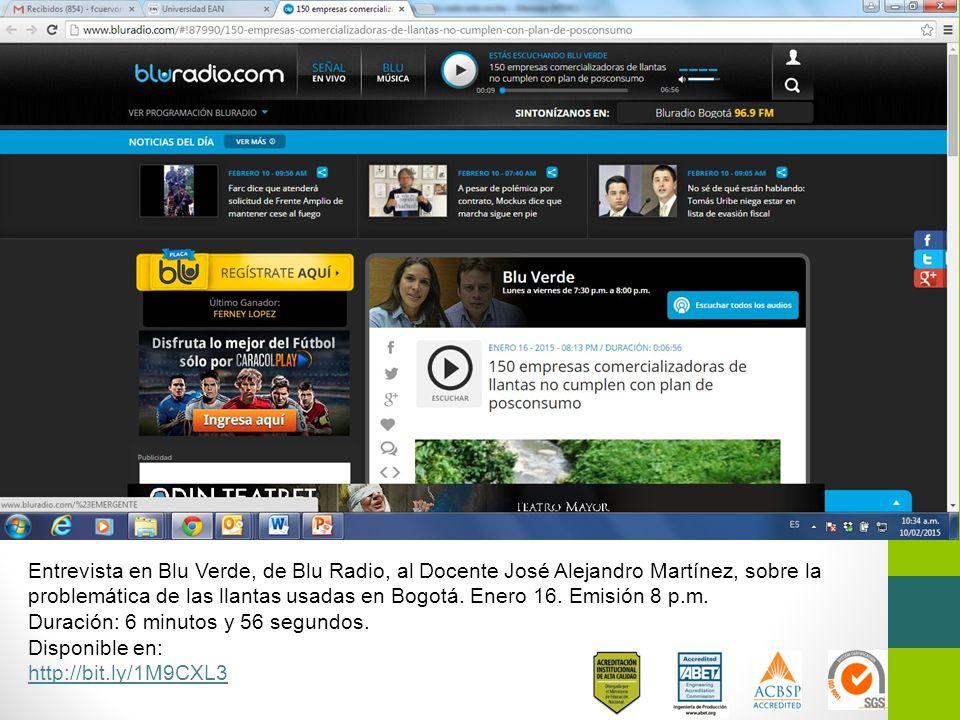 Entrevista en Blu Verde, de Blu Radio, al Docente José Alejandro Martínez, sobre la