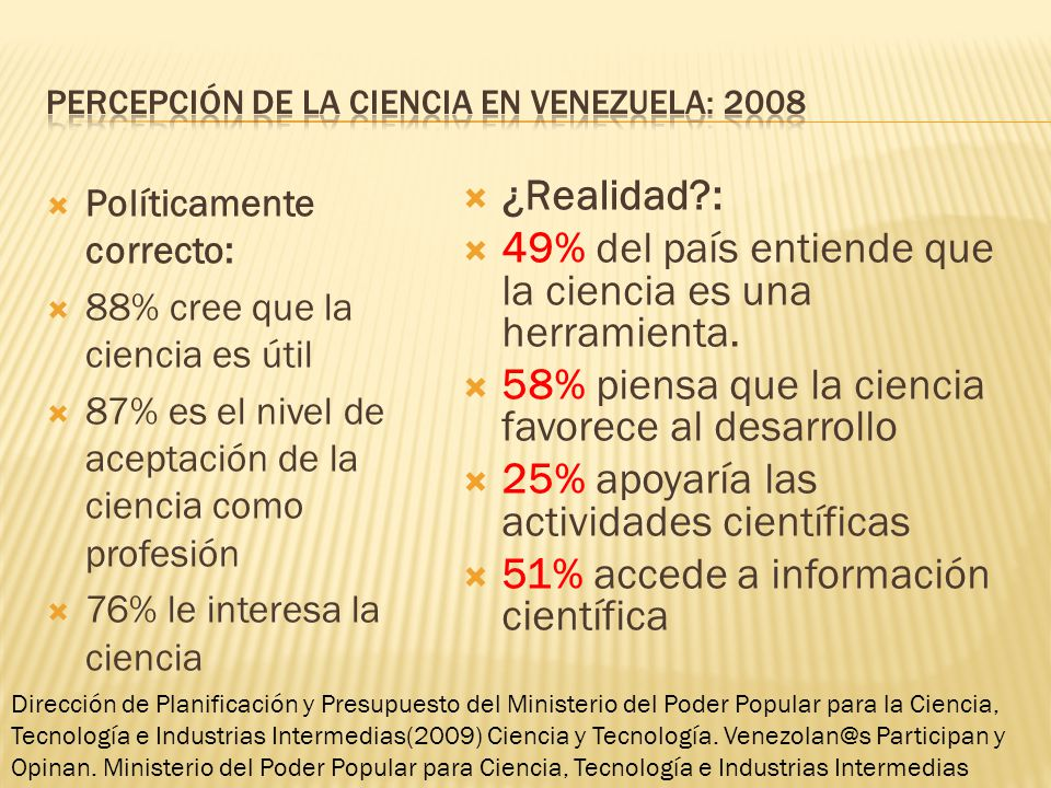 Percepción de la ciencia en Venezuela: 2008