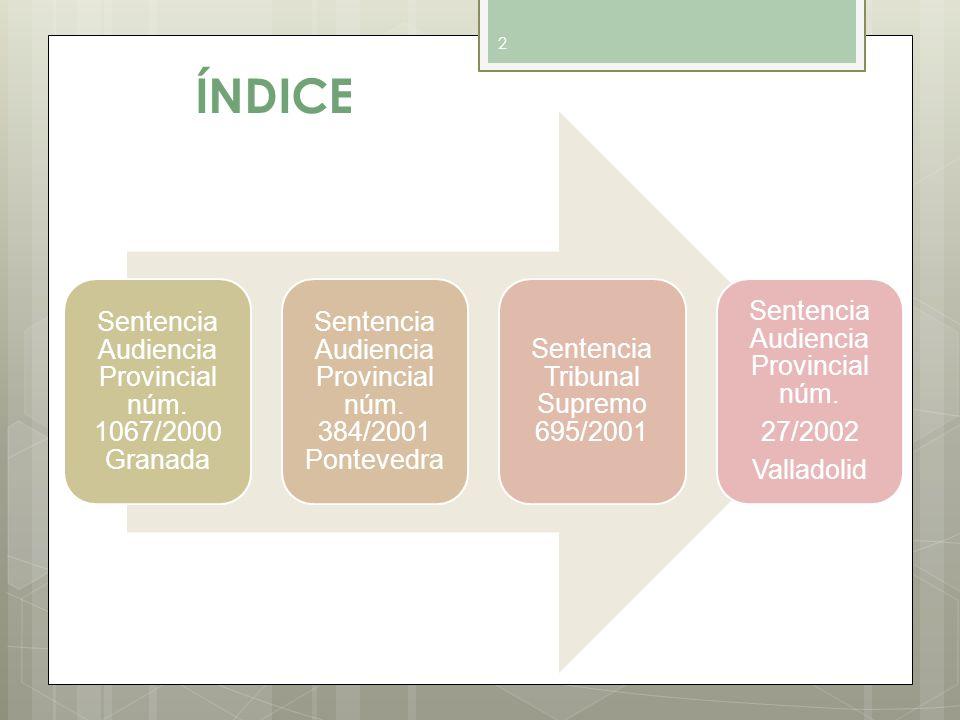 ÍNDICE Sentencia Audiencia Provincial núm. 1067/2000 Granada
