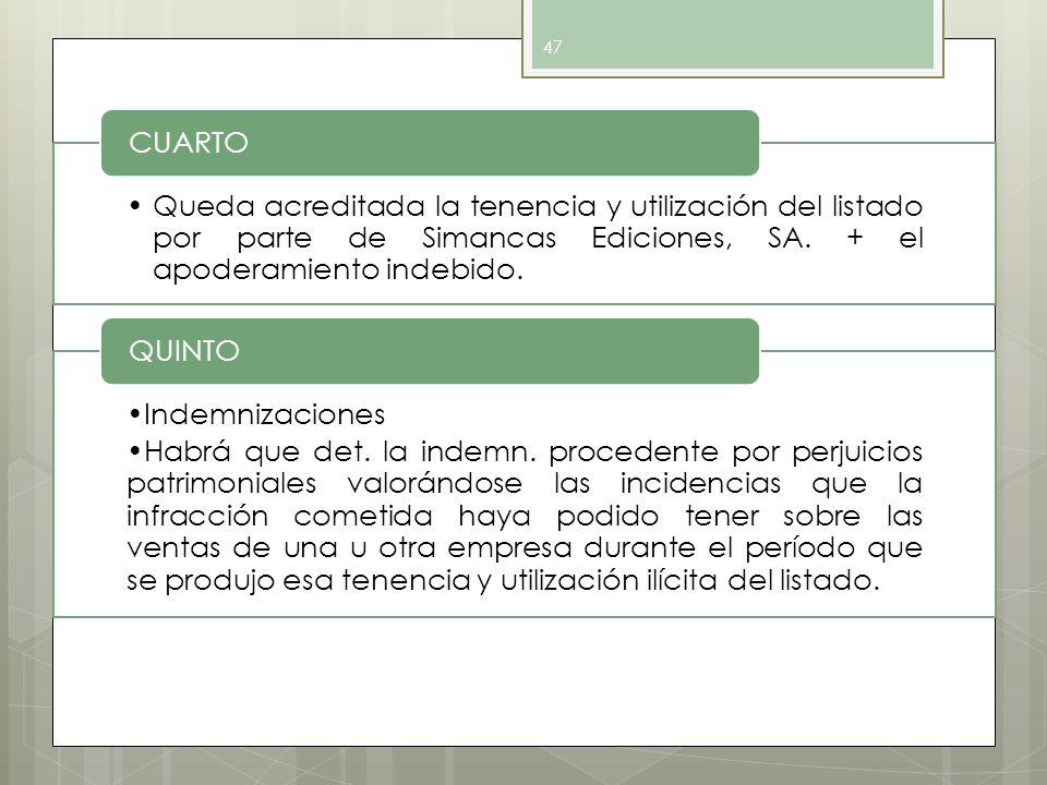 CUARTO Queda acreditada la tenencia y utilización del listado por parte de Simancas Ediciones, SA. + el apoderamiento indebido.