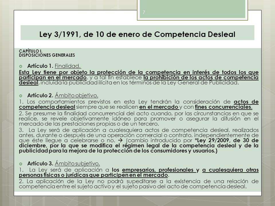 Ley 3/1991, de 10 de enero de Competencia Desleal